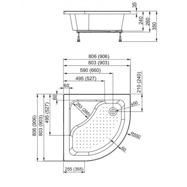 aquaform Душевой поддон Aquaform Plus 550 80x80 см 200-18607