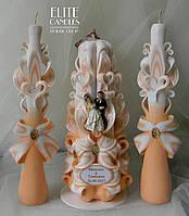 Бежеві весільні свічки для сімейного вогнища