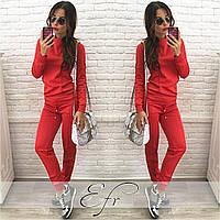Стильный женский однотонный спортивный костюм (штаны + толстовка)