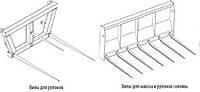 Вила без захвата для сена или навоза на трактор (стогометатель, подборщик сена, и др.) на МТЗ, ЮМЗ