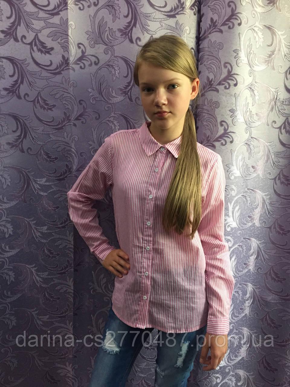 Коттоновая рубашка для девочки в мелкую полоску 134,140,146 см