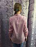 Коттоновая рубашка для девочки в мелкую полоску 134,140,146 см, фото 3