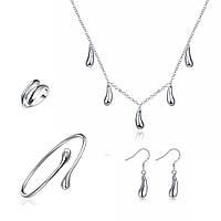 Комплект украшений Капли 160477 (колье + браслет + кольцо + серьги) Sterling Silver 925