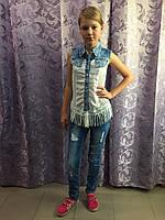 Блузка для девочки с джинсовыми вставками