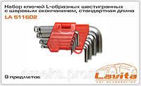 Набор ключей L-образных шестигранных с шаровым окончанием, стандартная длина 9 предметов Lavita LA 511602