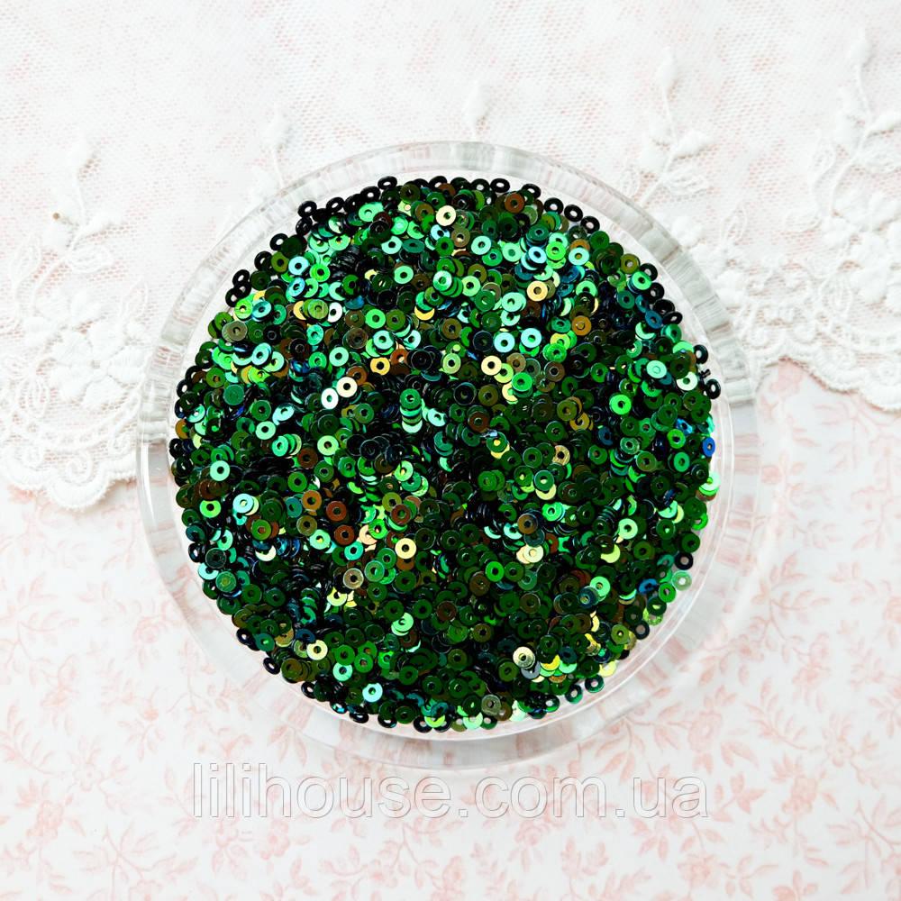 """Пайетки """"Зеленые с отливом"""" Индия, 3 мм - 5 г."""