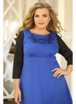 Женское классическое платье Василёк вышивка размер 48-72 / больших размеров , фото 2