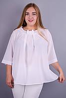 Рената. Красивая блузка супер батал. Белый.