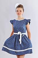 Стильное подростковое повседневное летнее платье в горошек  для девочки