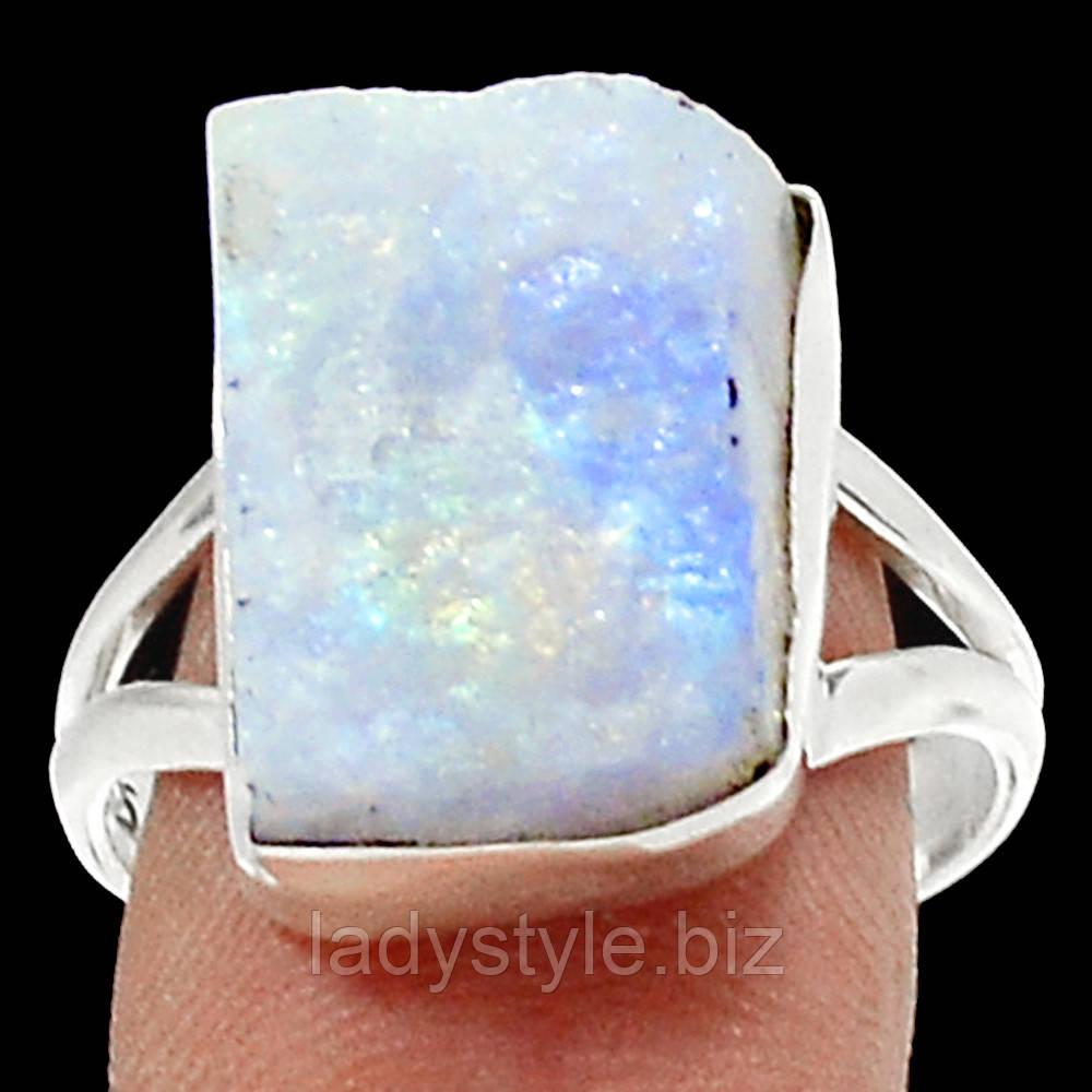 """Серебряный перстень с  натуральным лунным камнем  """"Синий лед"""", размер 19.3"""