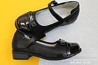 Черные туфли для девочки с лаковым носком тм Tom.m р.28,30,31,32,33