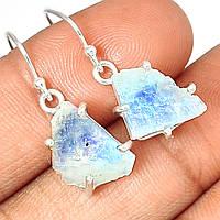 """Серебряные серьги с  натуральным лунным камнем  """"Синий лед"""",   от студии LadyStyle.Biz"""