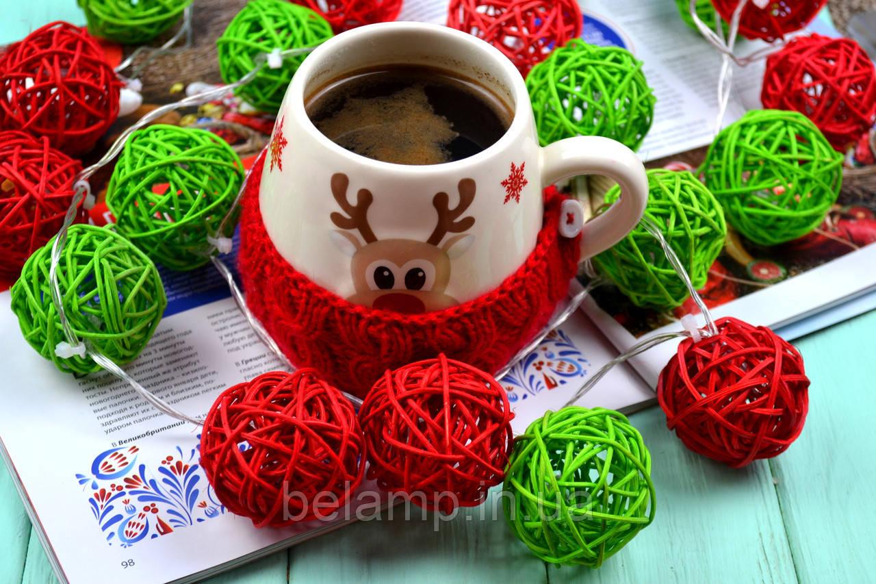 """Новорічна гірлянда з ротангу """"Різдво"""". Діаметр кульки - 5 див."""