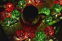 """Новогодняя гирлянда из ротанга """"Рождество"""". Диаметр шарика - 5 см."""