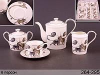 """Фарфоровый чайный набор на 6 персон """"Веселые коты"""" Lefard 264-295"""