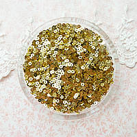"Пайетки ""Светлое золото"" Индия, 3 мм - 5 г."
