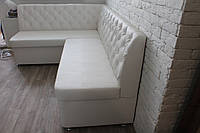 Мягкая мебель на кухню в исккуственной коже (Белая)