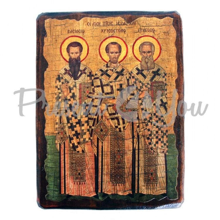 Деревянная икона Три святителя, 17х23 см (814-2081)