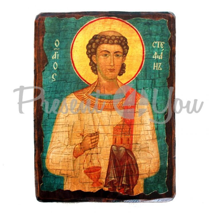 Деревянная икона святого Стефана, 17х23 см (814-2075)