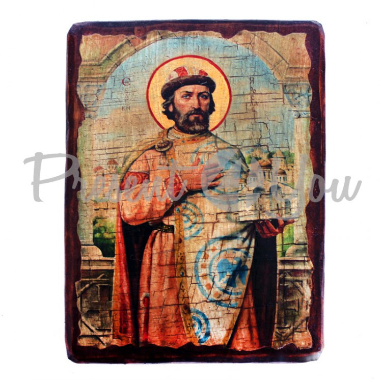 Деревянная икона святой Ярослав, 17х23 см (814-2064)