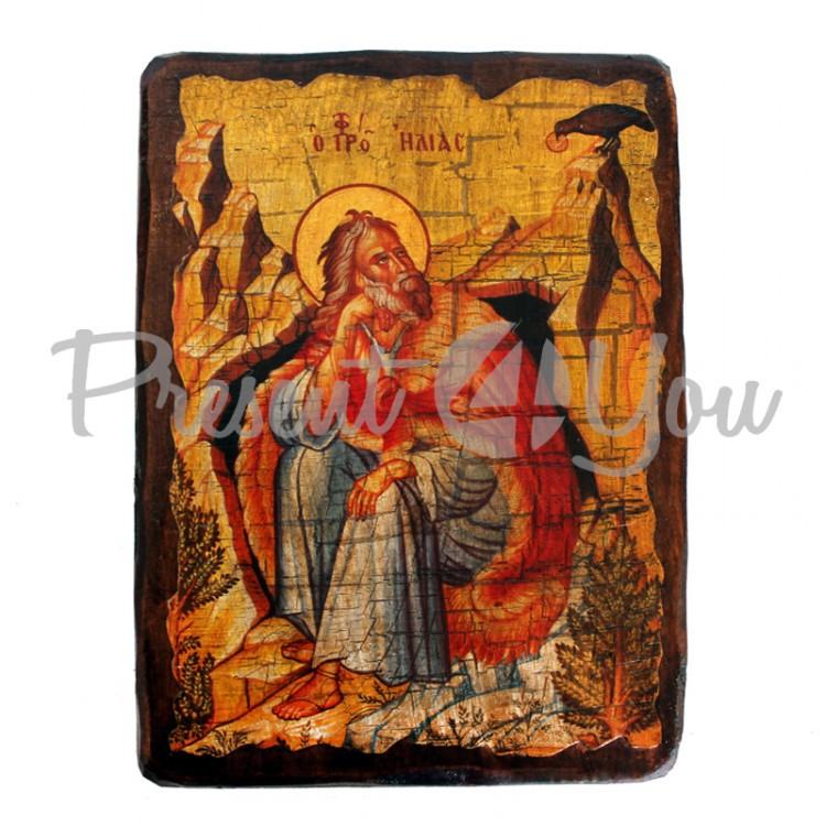 Деревянная икона святой Илья, 17х23 см (814-2063)