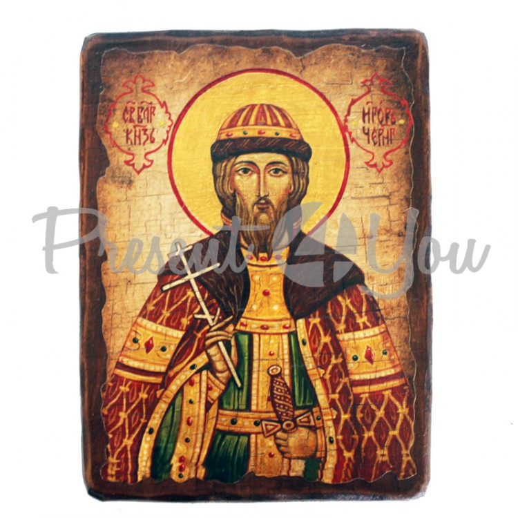 Деревянная икона святой Игорь, 17х23 см (814-2076)