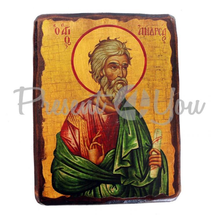 Деревянная икона святой Андрей, 17х23 см (814-2066)