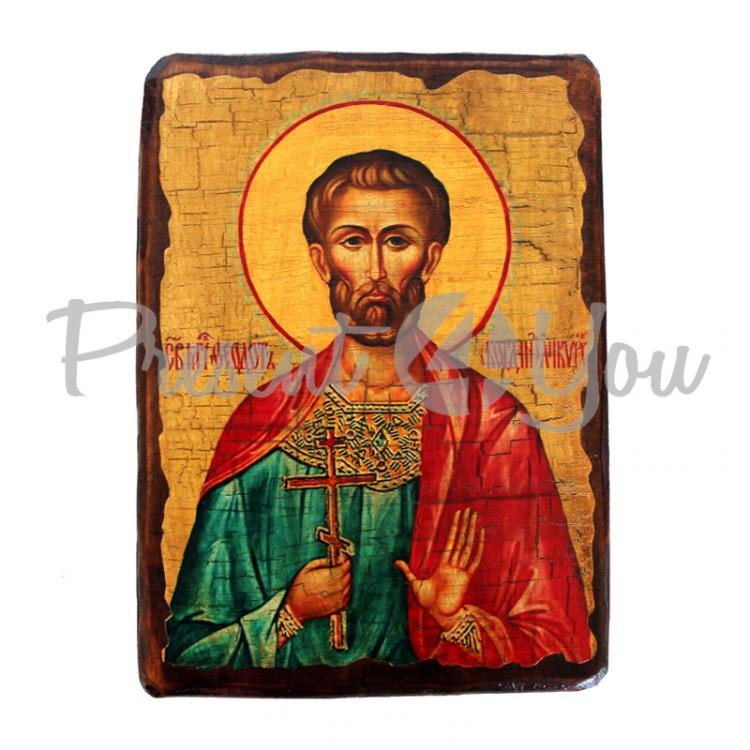 Деревянная икона святой Богдан, 17х23 см (814-2067)