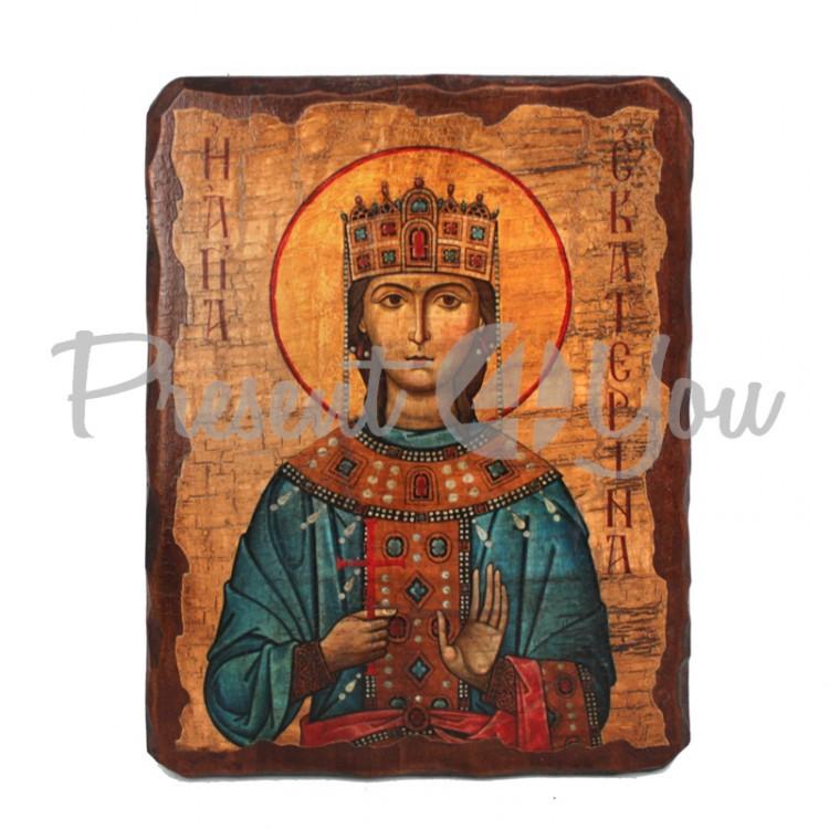 Деревянная икона святая Екатерина, 17х23 см (814-2055)