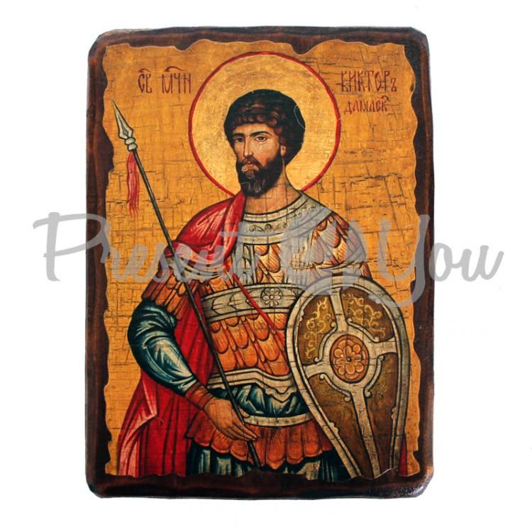 Деревянная икона святой Виктор, 17х23 см (814-2062)