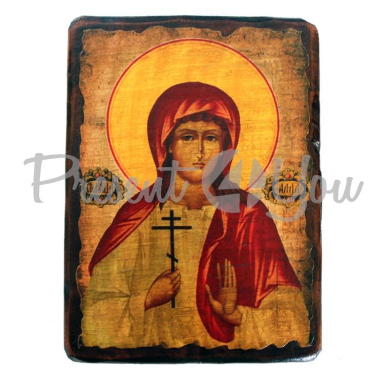 Деревянная икона святая Алла, 17х23 см (814-2071)