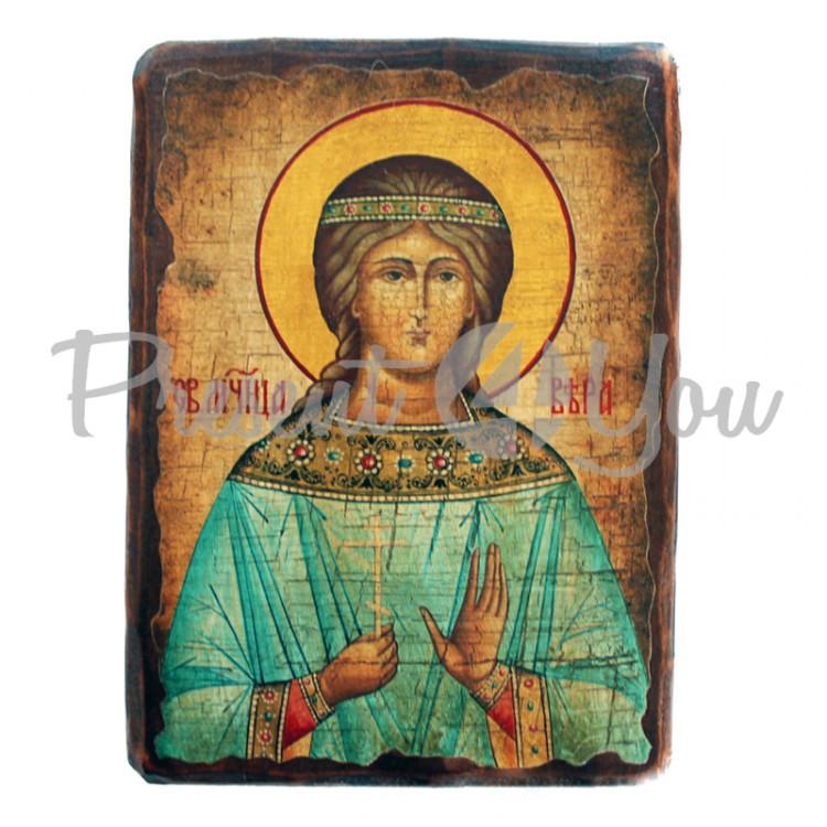 Деревянная икона святая Вера, 17х23 см (814-2080)