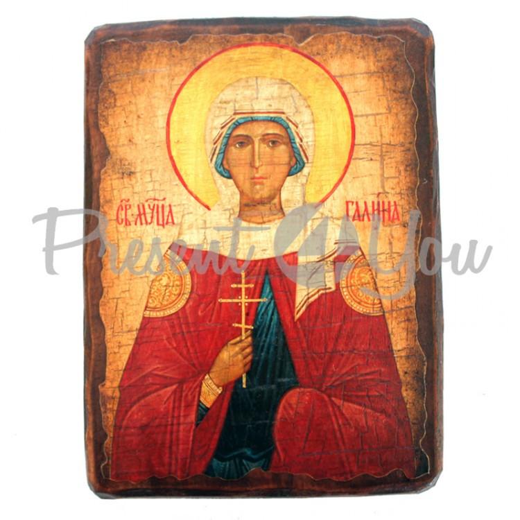 Деревянная икона святая Галина, 17х23 см (814-2084)