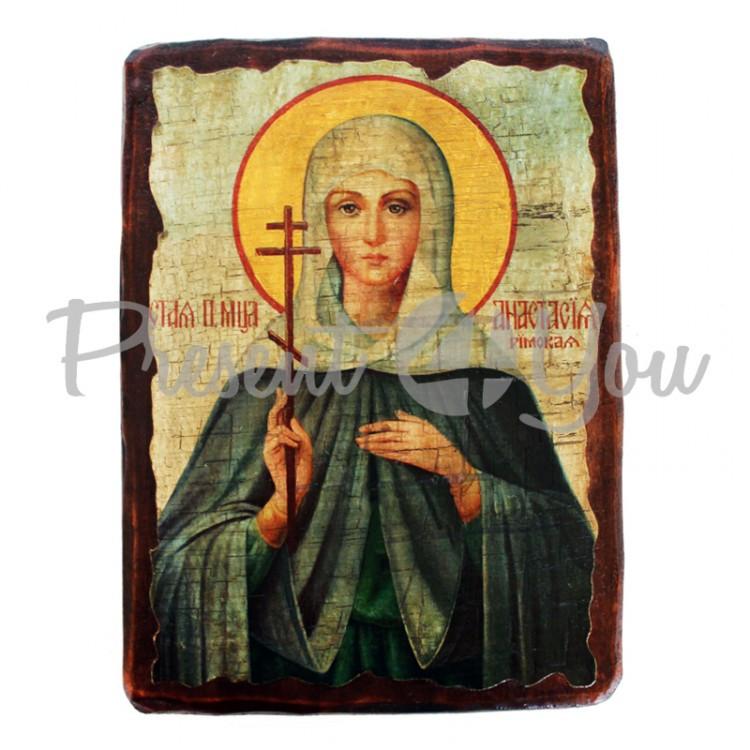 Деревянная икона святая Анастасия, 17х23 см (814-2085