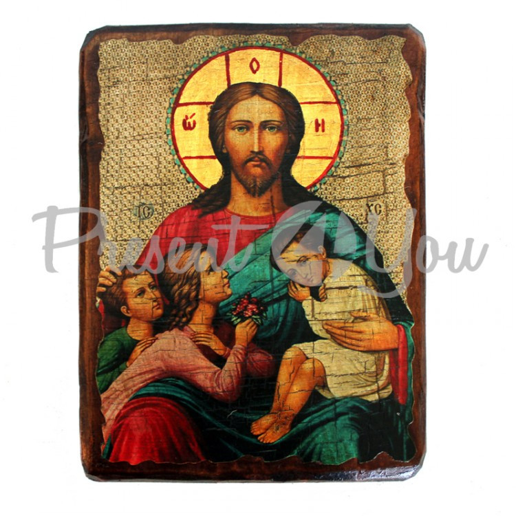 Деревянная икона святой Благословение детей , 17х23 см (814-2074)