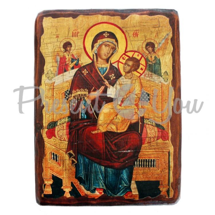 Деревянная икона Всецарица, 17х23 см (814-2079)