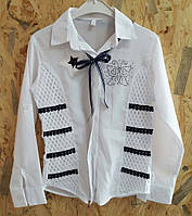Красивая детская белая блуза с декоративной вставкой и стразами р. 6-12 лет