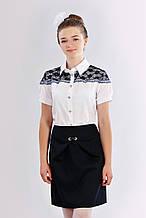 Детская девичья практичная школьная юбка-тюльпан черного цвета