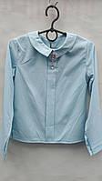 Детская блузка с брошью р.128-158 голубая