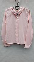 Детская блузка с брошью р.128-158 розовая
