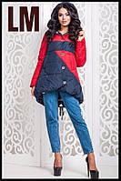 """Женская куртка """"Снег"""" 42-54 батал осенняя весенняя короткая асимметрия демисезонная на молнии с капюшоном"""