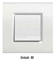 Выключатель 2 мод. в сборе с рамкой белый, фото 1