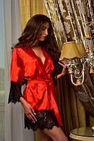 Женский атласный халат с контрастным кружевом Красный с черным
