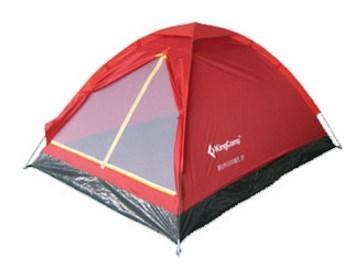 Двухместная туристическая палатка Kingcamp, красная, однослойная, каркас -стеклопластик Monodome 2(KT3016) Red