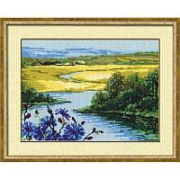Набор для вышивания крестом Риолис Сельский пейзаж с васильками 1008