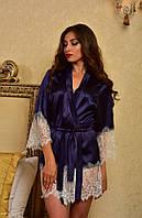 Короткий атласный халат с красивым кружевом Синий с белым, фото 1