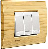 Выключатель с рамкой Бамбук