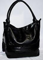Женская черная сумка с двумя ручками на один отдел 36*32
