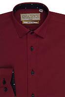 """Школьная рубашка бордового цвета для мальчика """"Княжич"""""""