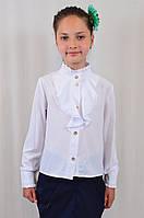 Красивая нарядная школьная блуза с жабо для девочки в школу
